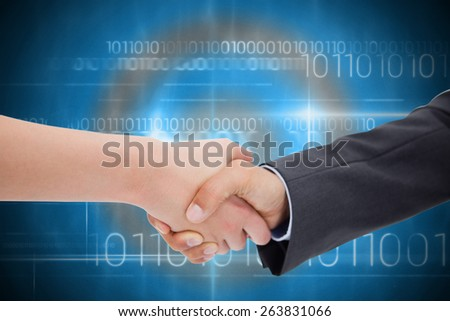 Close up of a handshake against blue technology design with binary code - stock photo