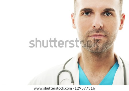 Close-up of a handsome male doctor - stock photo