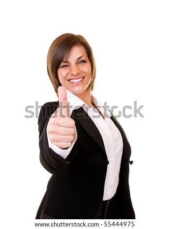 close-up of a happy businesswoman holding thumb up