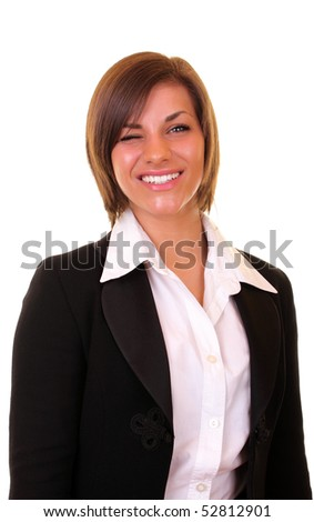 close up of a happy businesswoman winking