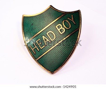 close-up of a head boy school badge - stock photo