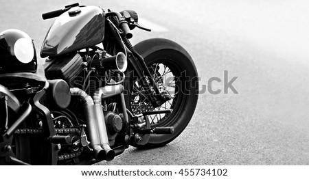 Close up of a high power chopper bike - stock photo