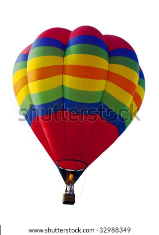 close up of a hot air balloon isolated against white background