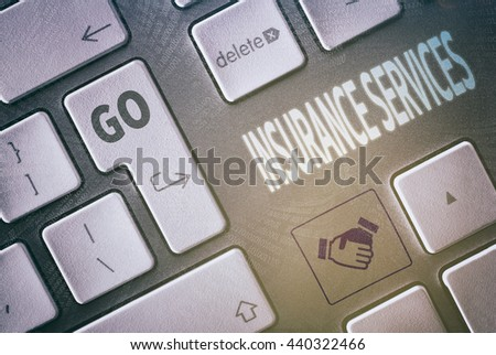 Close up of a keyboard with a Insurance Services concept.   - stock photo