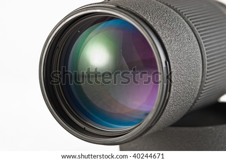 Close-up of a lens and multiple reflections