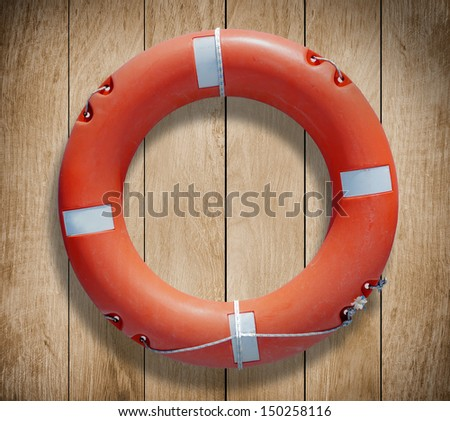 close-up of a lifebelt on a boat - stock photo