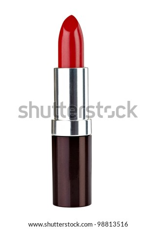 close up of  a lipstick on white background - stock photo