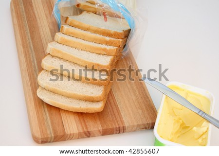 Close up of a loaf of sliced bread and butter.