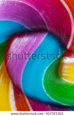 Close up of a lollipop on white background.