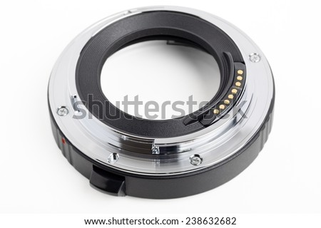 Close up of a macro ring isolated on white with clipping path