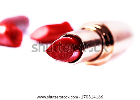 close up of a make-up accessories -lipstick - stock photo