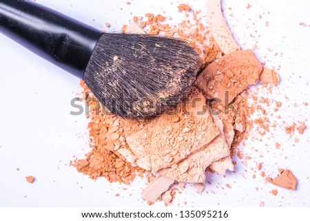 close up of a  make-up accessories -powder, eyeshadow,lipstick