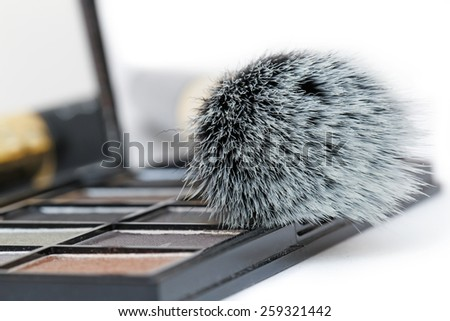 Close up of a makeup kit. Eye-shadows with a powder brush.  - stock photo