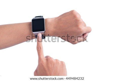 Close up of a male hands using a modern smart watch
