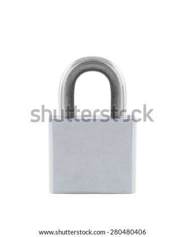 Close up of a metal lock isolated on white - stock photo
