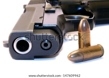 Close up of a 9mm gun and bullets