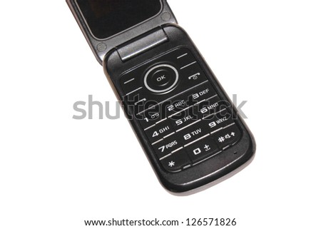 Close-up of a mobile phone key pad isolated on a white background using clipping path - stock photo