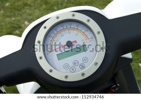close up of a modern motorcycle dashboard