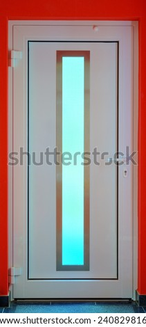 Close up of a modern plastic door with window, stitched and Hdr - stock photo
