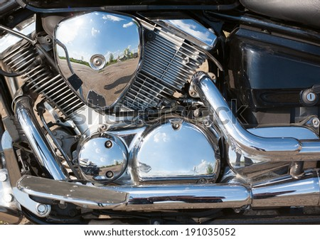 Close-up of a motorcycle engine block - stock photo
