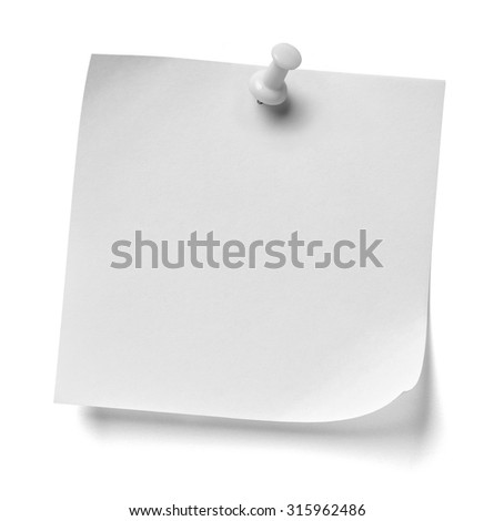 close up of  a note paper with a red push pin on white background
