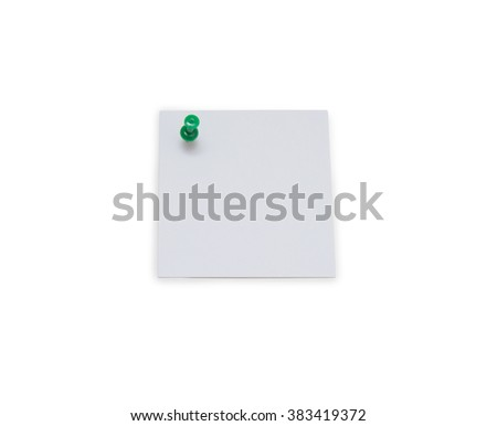 close up of a note paper with push pin on white background - stock photo