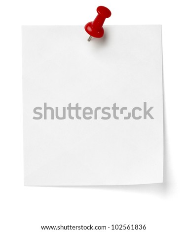 close up of a note paper with push pin on white background with clipping path - stock photo