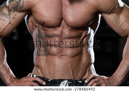 Close Up Of A Perfect Abs - stock photo