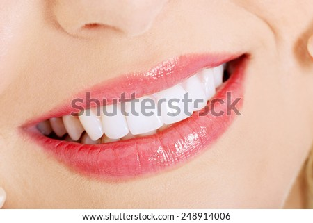 close up of a perfect smile - stock photo