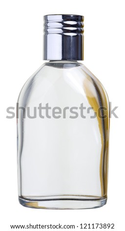 Close up of a perfume bottle isolated on white background, with clipping path - stock photo