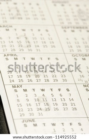 Close-up of a personal organizer calendar