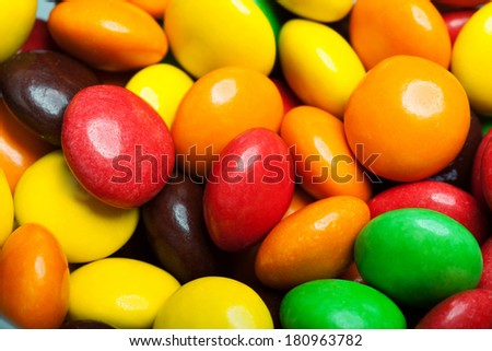 Close up of a pile of colorful chocolate coated candy background