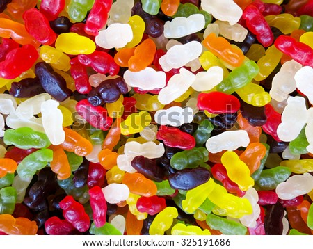 Close-up of a pile of wine gums in various colours - stock photo