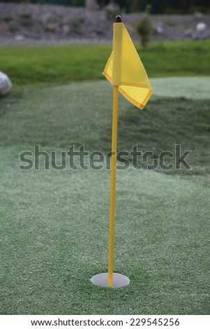 Close up of a pin and cup on a golf hole - stock photo