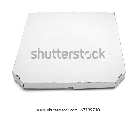 close up of a pizza  box  on white background with clipping path - stock photo