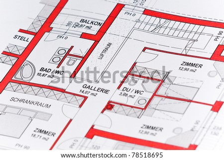 close up of a plan for a house - stock photo
