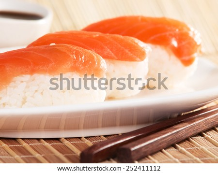 Close up of a portion Salmon nigiri sushi (sake nigiri) - stock photo