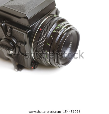 Close up of a professional medium format film camera system isolated on white.  - stock photo