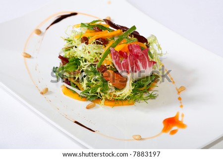 close-up of a professionally prepared food - stock photo