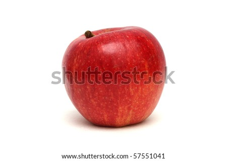 Close up of a red fuji apple isolated on white background.