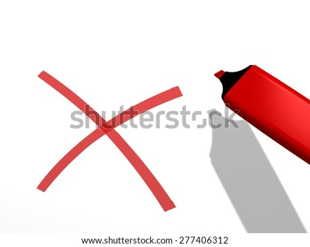 close-up of a red pen marker used to draw a x rejection sign on a white background, referring to concepts such as decision, correction, disapproval, negative, verification, and filling a checklist