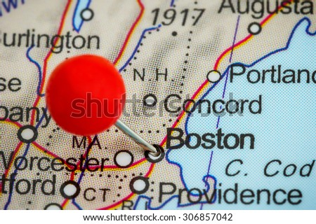 Close-up of a red pushpin on a map of Boston, USA - stock photo