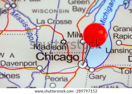 Closeup Red Pushpin On Map Chicago Stock Photo (Royalty Free ...
