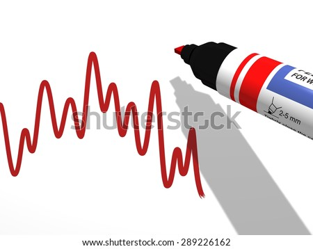 close-up of a red whiteboard pen marker used to draw a descending curve diagram on a white background, referring to concepts such as statistics, analysis, reporting, as well as trends and evolutions - stock photo