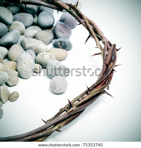 close up of a representation of the Jesus Christ crown of thorns with pebblestones - stock photo