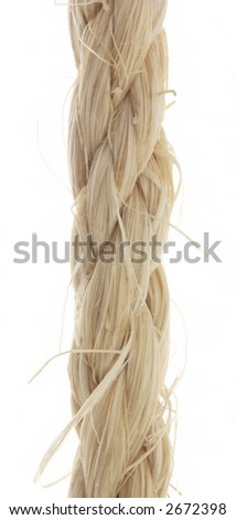 Close-up of a rope, isolated on white. - stock photo