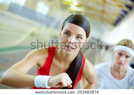 Close-up of a running girl�¢??s face - stock photo
