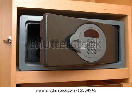 Close up of a safe box in closet - stock photo
