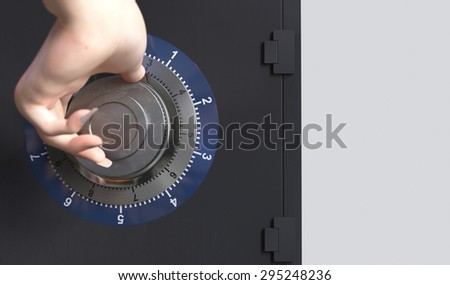 Close up of a safe lock and woman hand conceptual image for security and business - stock photo