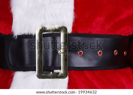 Close up of a santa suit with belt and buckle